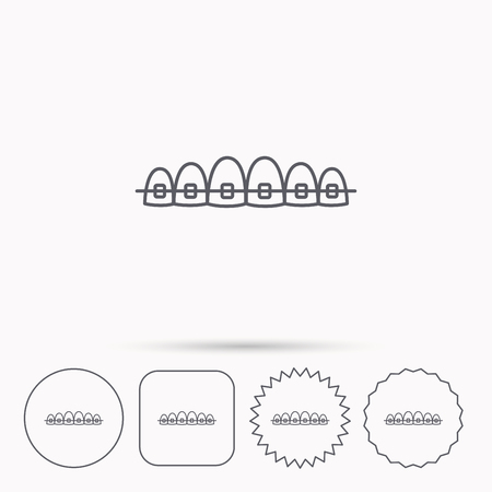 staples: Dental braces icon. Teeth healthcare sign. Orthodontic symbol. Linear circle, square and star buttons with icons. Illustration
