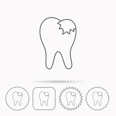 fillings: Dental fillings icon. Tooth restoration sign. Linear circle, square and star buttons with icons. Illustration