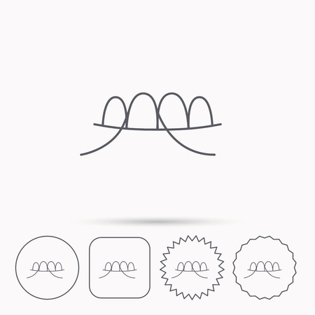 halitosis: Dental floss icon. Teeth cleaning sign. Oral hygiene symbol. Linear circle, square and star buttons with icons.