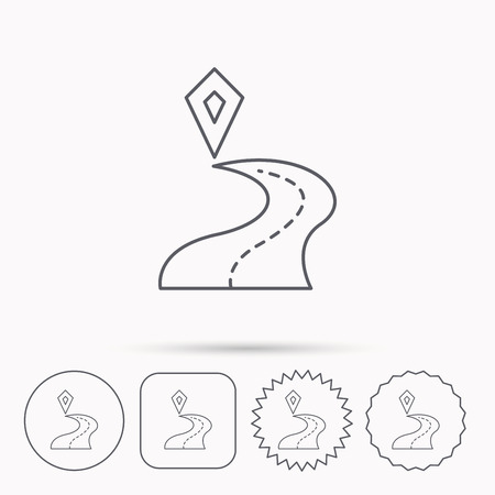 destination: Destination pointer icon. Road location sign. Linear circle, square and star buttons with icons.