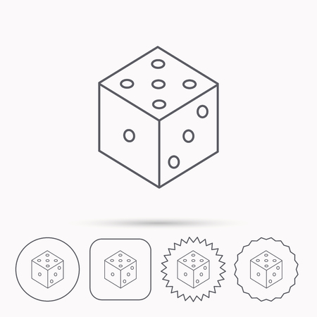 bet: Dice icon. Casino gaming tool sign. Winner bet symbol. Linear circle, square and star buttons with icons.