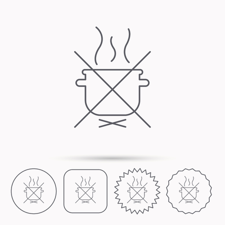 do cooking: Boiling saucepan icon. Do not boil water sign. Cooking manual attenction symbol. Linear circle, square and star buttons with icons.