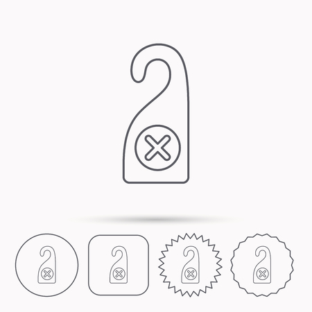door hanger: Do not disturb icon. Sleep door hanger sign. Hotel maid service symbol. Linear circle, square and star buttons with icons.