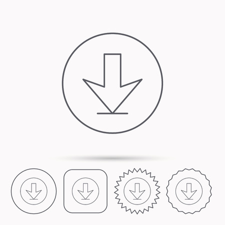 down load: Download icon. Down arrow sign. Internet load symbol. Linear circle, square and star buttons with icons.