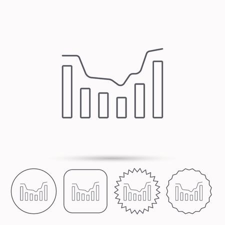 infochart: Dynamics icon. Statistic chart sign. Growth infochart symbol. Linear circle, square and star buttons with icons.