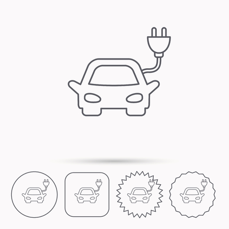 hybrid: Electric car icon. Hybrid auto transport sign. Linear circle, square and star buttons with icons.