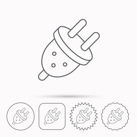Electric plug icon. European socket sign. Linear circle, square and star buttons with icons.