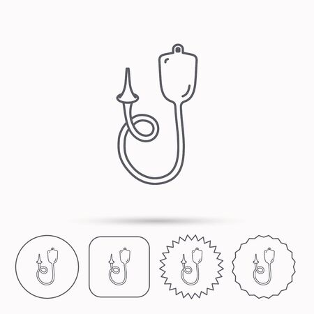 enema: Enema icon. Medical clyster sign. Linear circle, square and star buttons with icons.