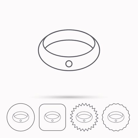 jewelery: Diamond engagement ring icon. Jewelery sign. Linear circle, square and star buttons with icons. Illustration