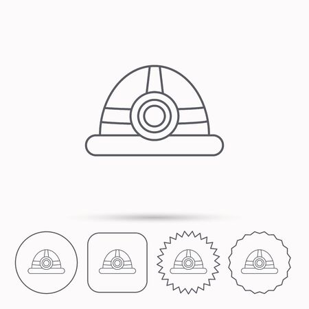 industrialist: Engineering icon. Engineer or worker helmet sign. Linear circle, square and star buttons with icons.
