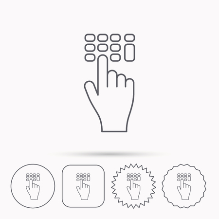 pin code: Enter pin code icon. Click hand pointer sign. Linear circle, square and star buttons with icons. Illustration