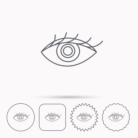 ophthalmology: Eye icon. Human vision sign. Ophthalmology symbol. Linear circle, square and star buttons with icons.