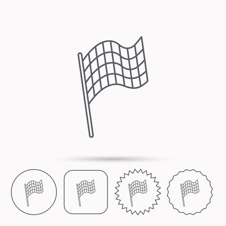 finish flag: Finish flag icon. Start race sign. Linear circle, square and star buttons with icons. Illustration
