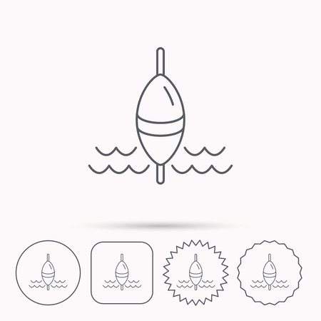 bobber: Fishing float icon. Fisherman bobber sign. Linear circle, square and star buttons with icons.