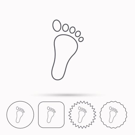 foot step: Baby footprint icon. Child foot sign. Newborn step symbol. Linear circle, square and star buttons with icons.