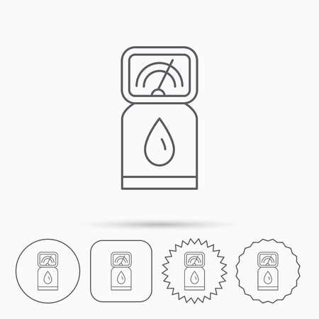 fuel pump: Gas station icon. Petrol fuel pump sign. Linear circle, square and star buttons with icons. Illustration