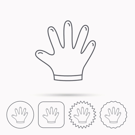 rubber gloves: Rubber gloves icon. Latex hand protection sign. Housework cleaning equipment symbol. Linear circle, square and star buttons with icons. Illustration