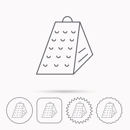 grated cheese: Grater icon. Kitchen tool sign. Kitchenware slicer symbol. Linear circle, square and star buttons with icons.