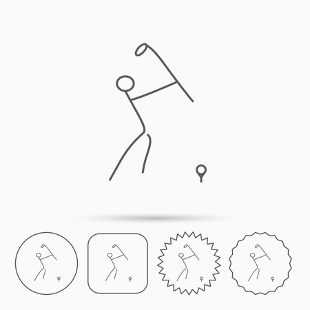 golfing: Golf club icon. Golfing sport sign. Professional equipment symbol. Linear circle, square and star buttons with icons.