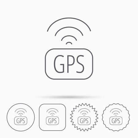 positioning: GPS navigation icon. Map positioning sign. Wireless signal symbol. Linear circle, square and star buttons with icons.