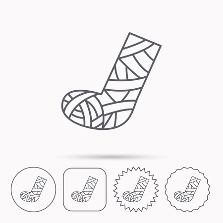 cast: Gypsum or cast foot icon. Broken leg sign. Human recovery medicine symbol. Linear circle, square and star buttons with icons.