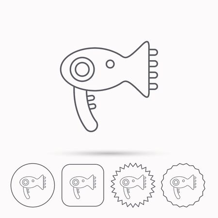 air diffuser: Hairdryer icon. Electronic blowdryer sign. Hairdresser equipment symbol. Linear circle, square and star buttons with icons.