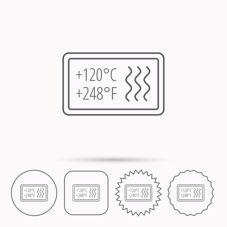 resistant: Heat resistant icon. Microwave or dishwasher information sign. Attention symbol. Linear circle, square and star buttons with icons.