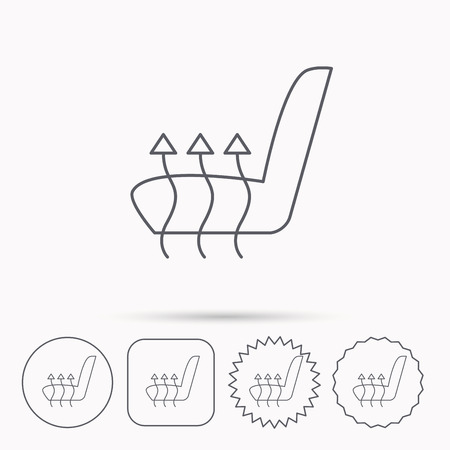 heated: Heated seat icon. Warm autoarmchair sign. Linear circle, square and star buttons with icons. Illustration
