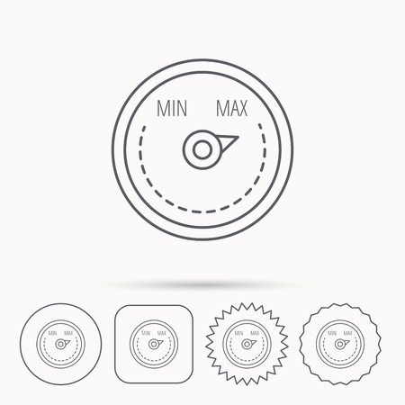 Heat regulator icon. Radiator thermometer sign. Linear circle, square and star buttons with icons. Illustration