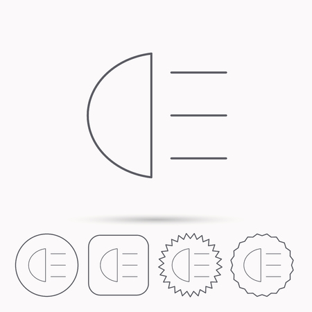 distant: High beams icon. Distant light car sign. Linear circle, square and star buttons with icons. Illustration