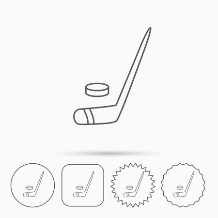 professional sport: Ice hockey icon. Professional sport game sign. Linear circle, square and star buttons with icons.