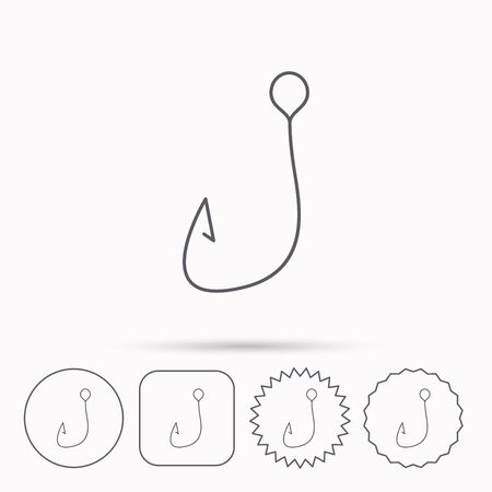 fishinghook: Fishing hook icon. Fisherman equipment sign. Angling symbol. Linear circle, square and star buttons with icons.