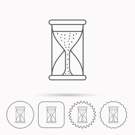 starting: Hourglass icon. Sand time starting sign. Linear circle, square and star buttons with icons.