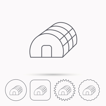 warm house: Greenhouse complex icon. Hothouse building sign. Warm house symbol. Linear circle, square and star buttons with icons. Illustration