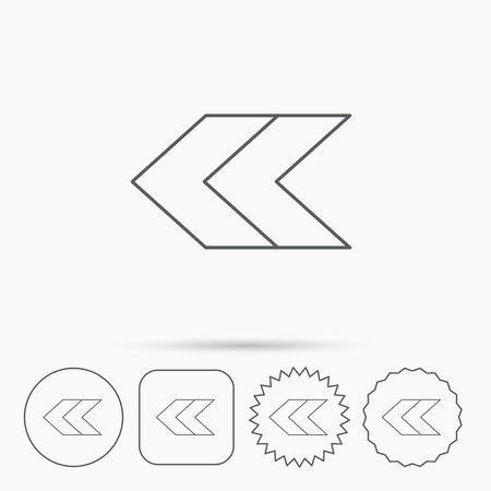 Left arrow icon. Previous sign. Back direction symbol. Linear circle, square and star buttons with icons. Illustration