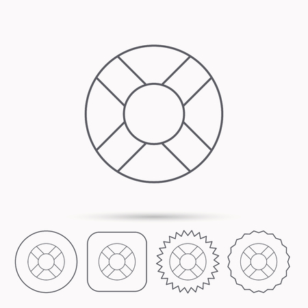 lifebelt: Lifebuoy icon. Lifebelt sos sign. Lifesaver help equipment symbol. Linear circle, square and star buttons with icons. Illustration