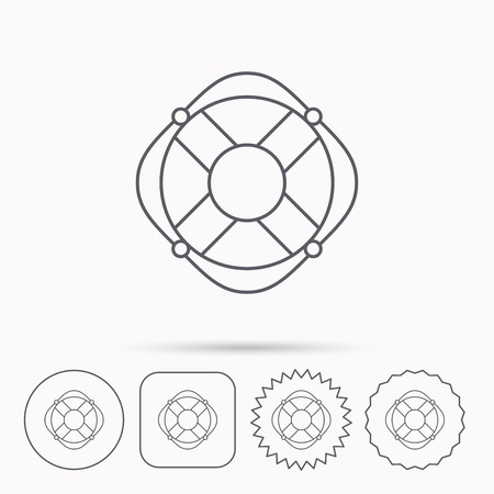 lifesaver: Lifebuoy with rope icon. Lifebelt sos sign. Lifesaver help equipment symbol. Linear circle, square and star buttons with icons.