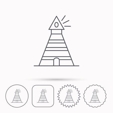 searchlight: Lighthouse icon. Searchlight signal sign. Coast tower symbol. Linear circle, square and star buttons with icons. Illustration