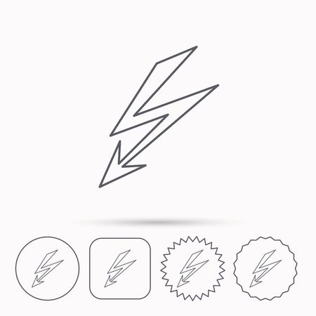 lightening: Lightening bolt icon. Power supply sign. Electricity symbol. Linear circle, square and star buttons with icons.