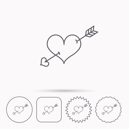 amour: Love heart icon. Amour arrow sign. Linear circle, square and star buttons with icons. Illustration