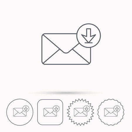 inbox icon: Mail inbox icon. Email message sign. Download arrow symbol. Linear circle, square and star buttons with icons.