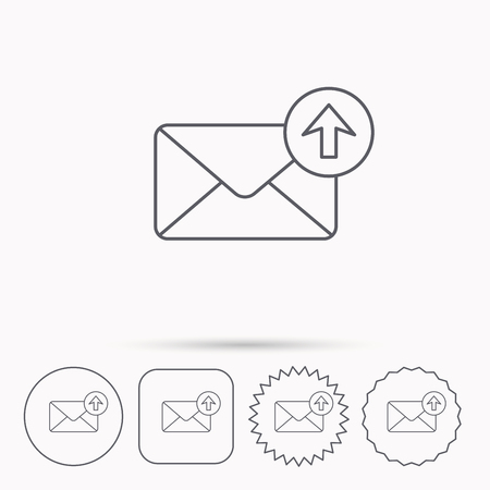 outbox: Mail outbox icon. Email message sign. Upload arrow symbol. Linear circle, square and star buttons with icons. Illustration