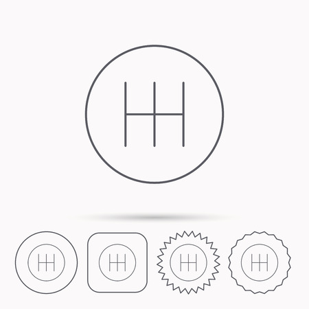 gearbox: Manual gearbox icon. Car transmission sign. Linear circle, square and star buttons with icons. Illustration
