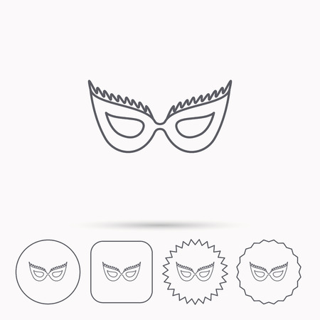 anonymous: Festive mask icon. Masquerade carnival sign. Anonymous symbol. Linear circle, square and star buttons with icons.