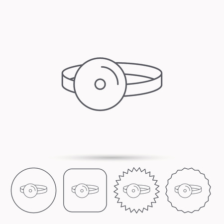 otorhinolaryngology: Medical mirror icon. ORL medicine sign. Otorhinolaryngology diagnosis tool symbol. Linear circle, square and star buttons with icons.