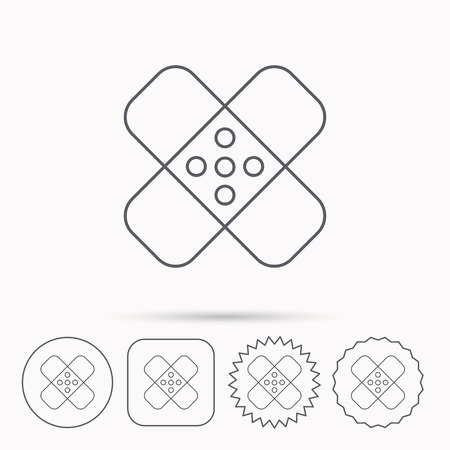Medical plaster icon. Injury fix sign. Linear circle, square and star buttons with icons.