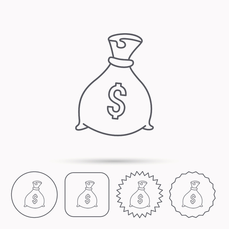 Sack with dollars icon. Money bag sign. Banking symbol. Linear circle, square and star buttons with icons.