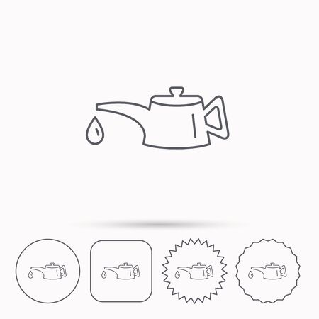motor oil: Motor oil icon. Fuel can with drop sign. Linear circle, square and star buttons with icons.