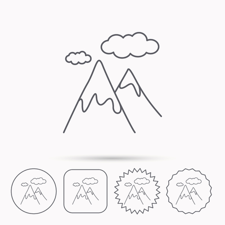 extreme terrain: Mountain icon. Hills and clouds sign. Climbing travel symbol. Linear circle, square and star buttons with icons.