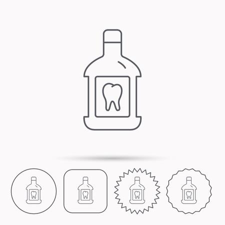enjuague bucal: Icono de enjuague bucal. Oral signo líquido antibacterial. Círculo lineal, botones cuadrados y estrellas con iconos. Vectores